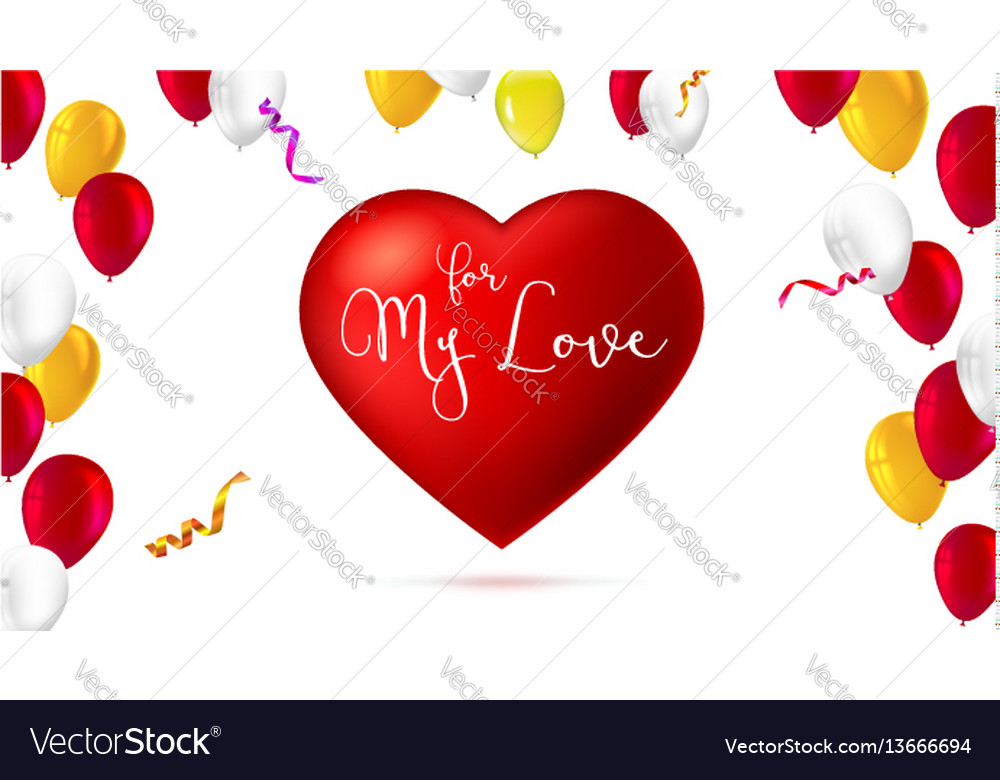 Greeting romantic greeting card with big red