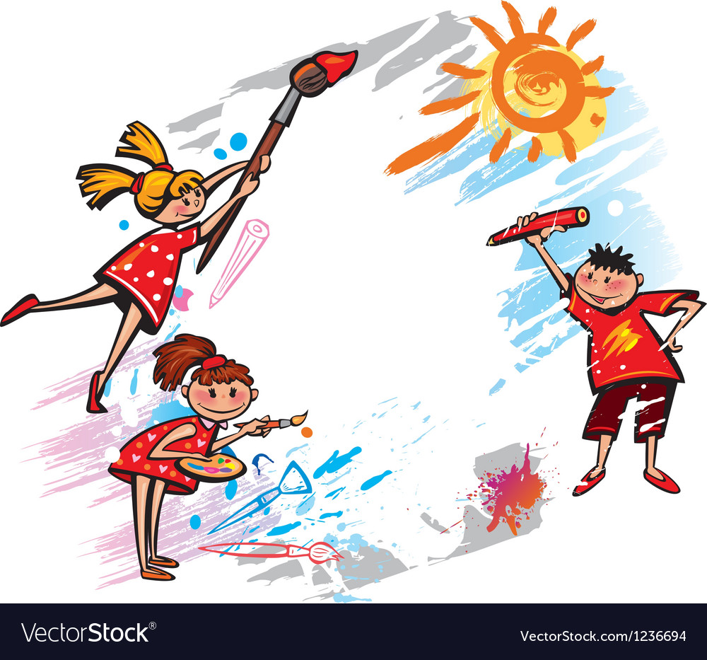 Happy kids with banner for message vector image