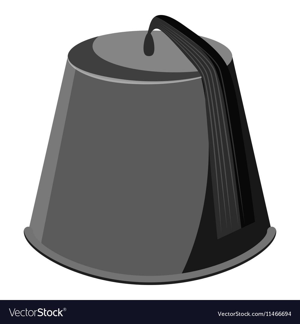 Hat fez icon gray monochrome style