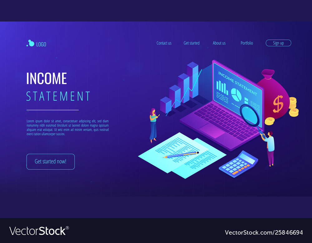Income statement isometric 3d landing page