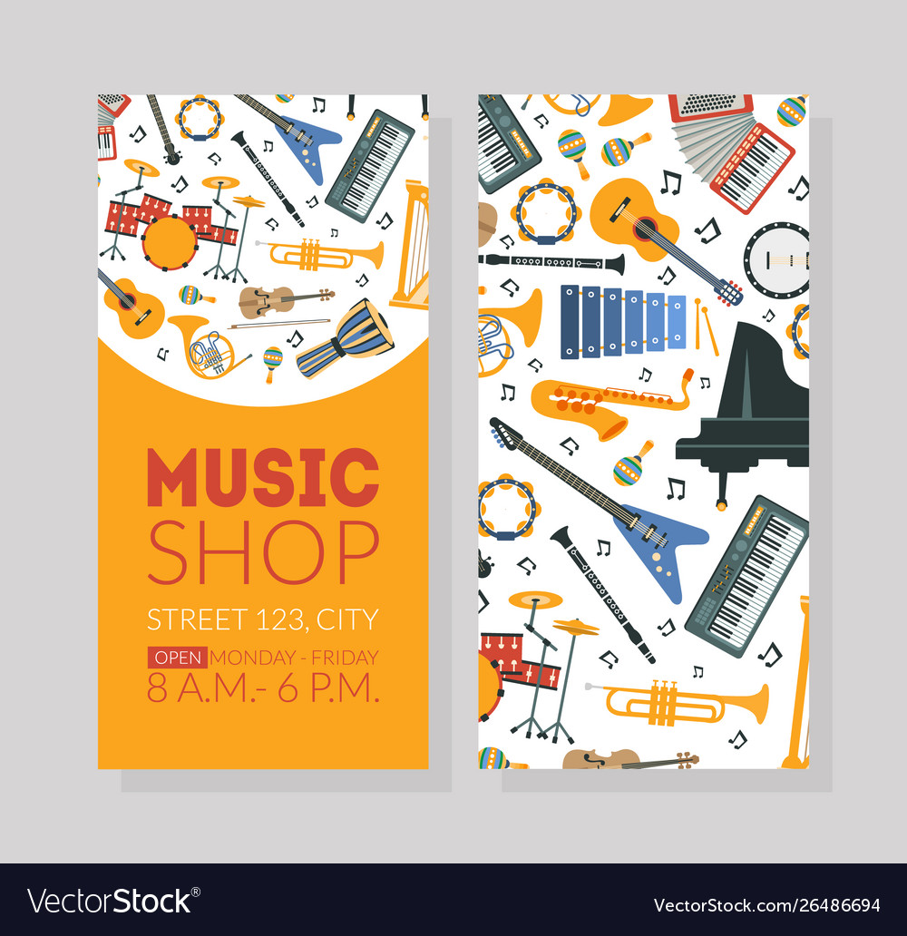 Music shop business card template with musical