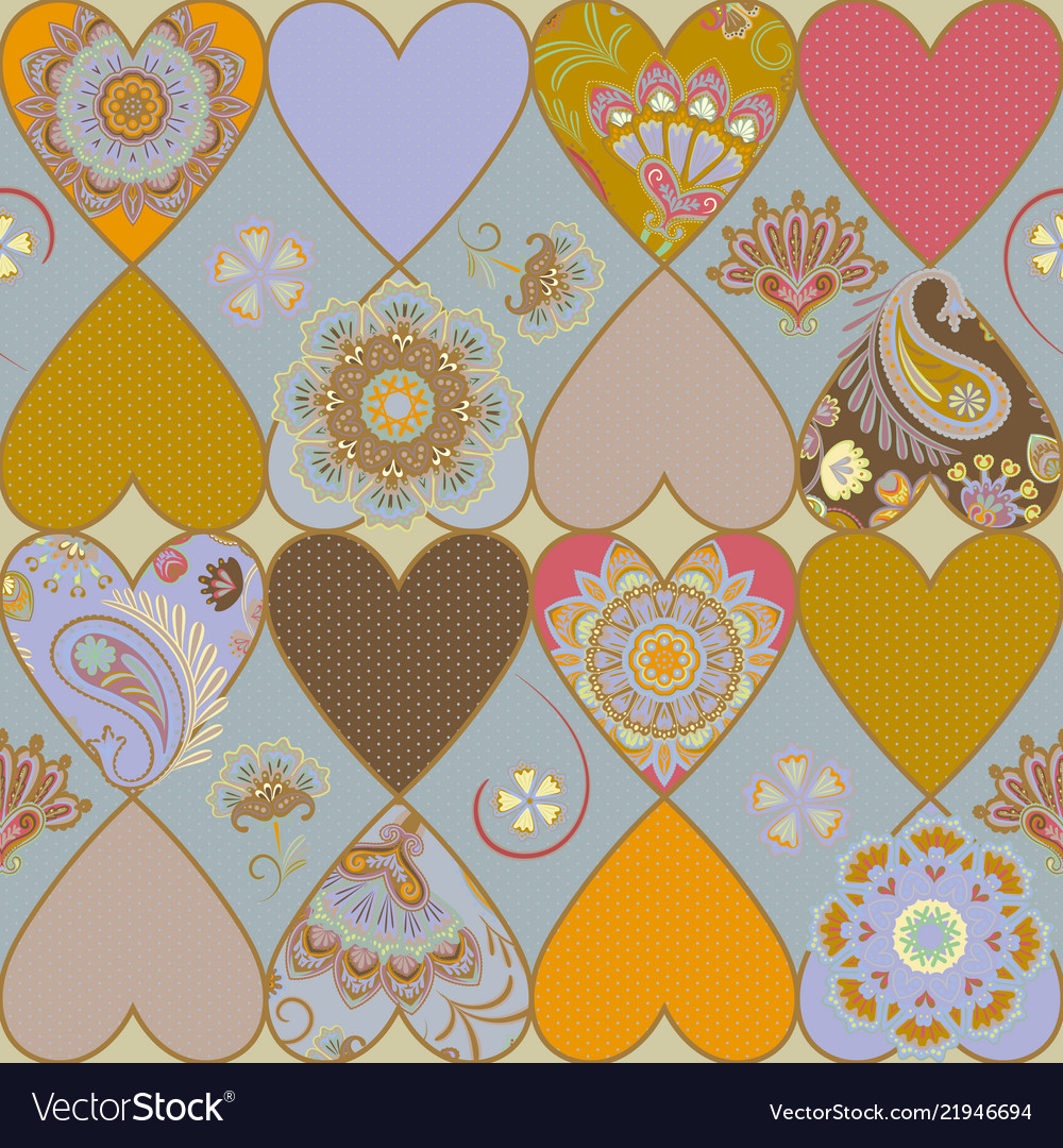 Ornate heart patchwork quilt pattern