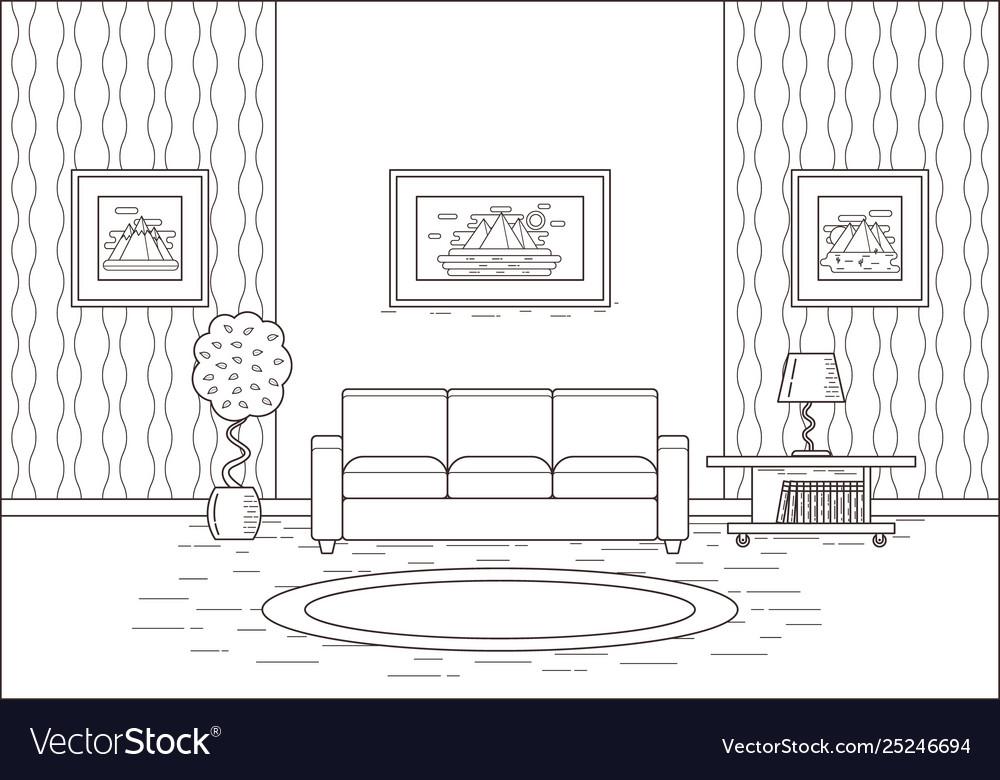 Outline Room Interior In Flat Design