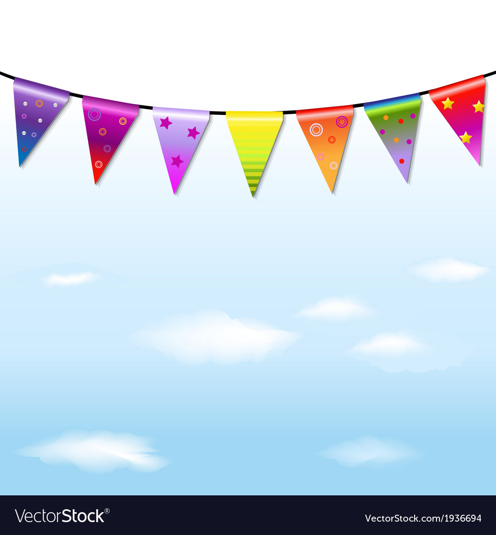 Rainbow Bunting Banner Garland With Sky