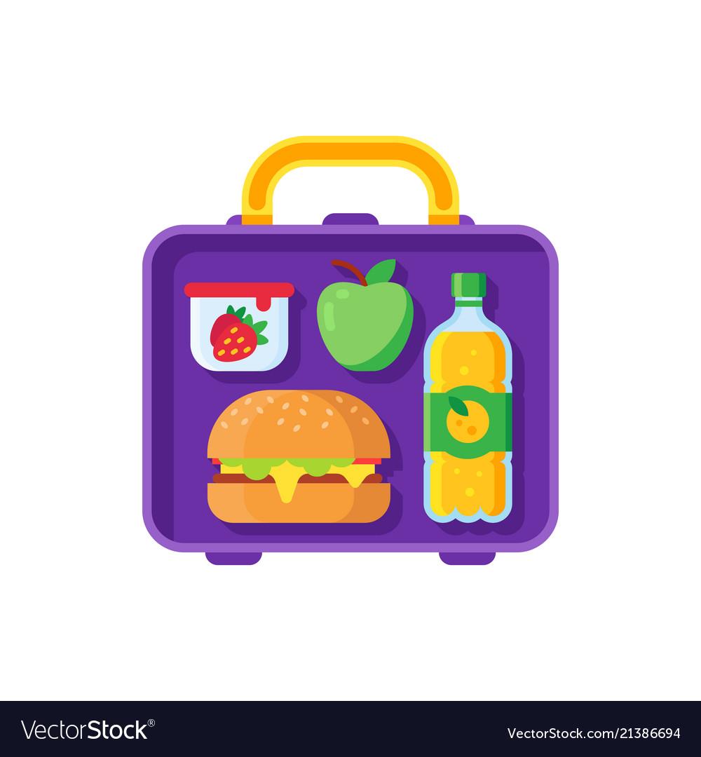 School lunch in lunchbox healthy dinner in food