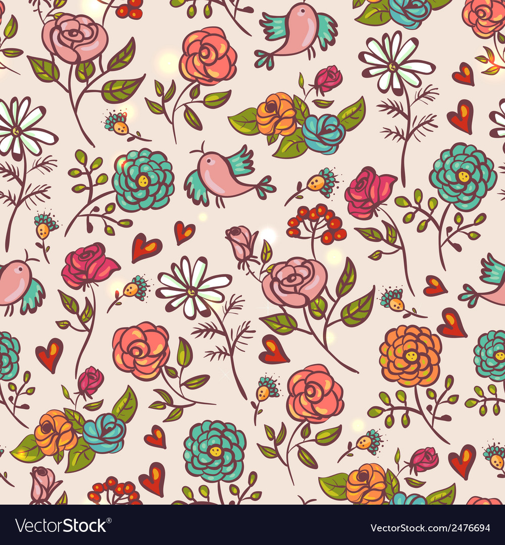 Seamless background with roses and birds