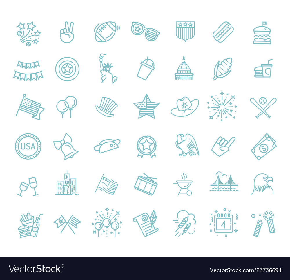 Set of 42 usa independence day line icons suitable