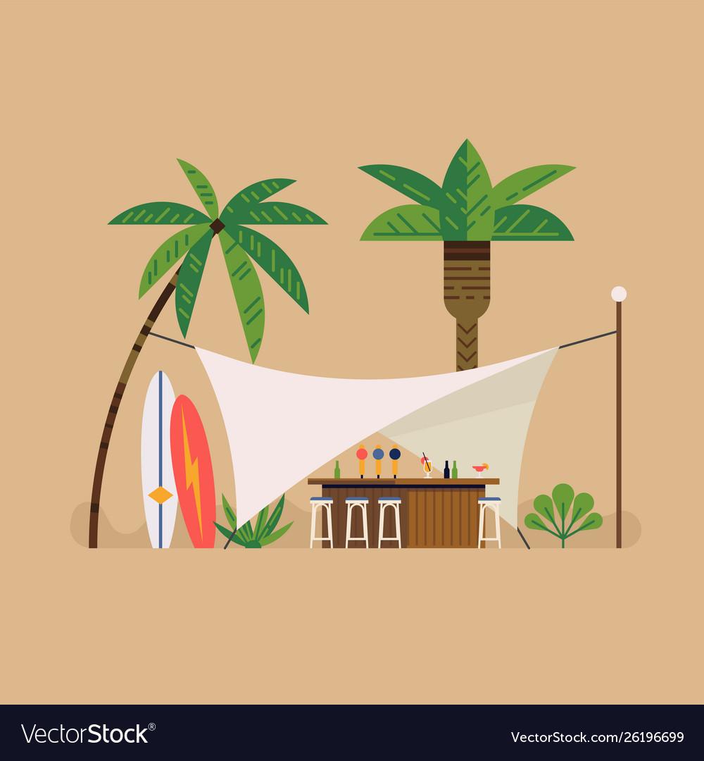 Beach bar tent scene