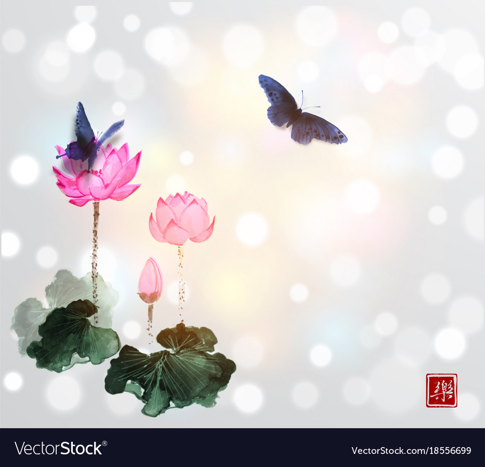 Big Butterflies And Lotus Flowers On White Glowing