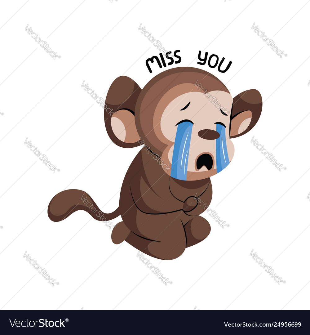 Crying Cute Monkey Saying Miss You On A White Vector Image