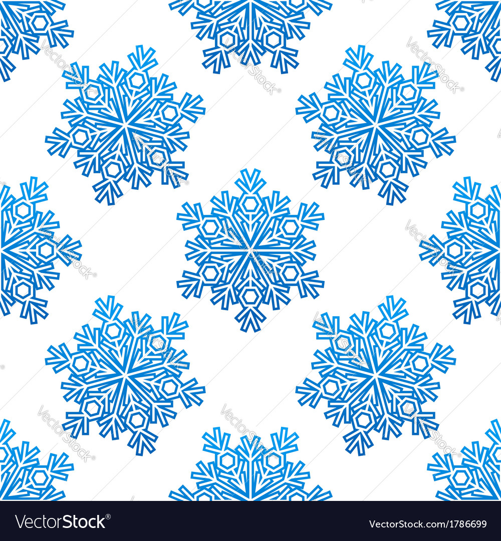 Decorative blue snowflakes seamless pattern