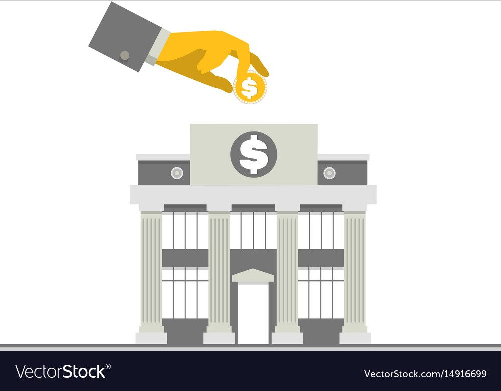 Facade of a bank building with columns and hand vector image