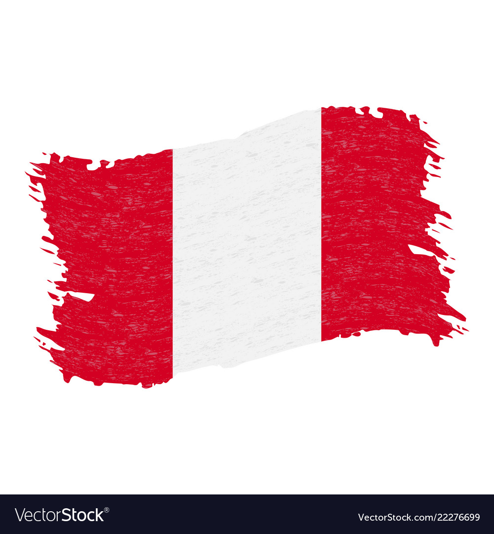 Flag of peru grunge abstract brush stroke