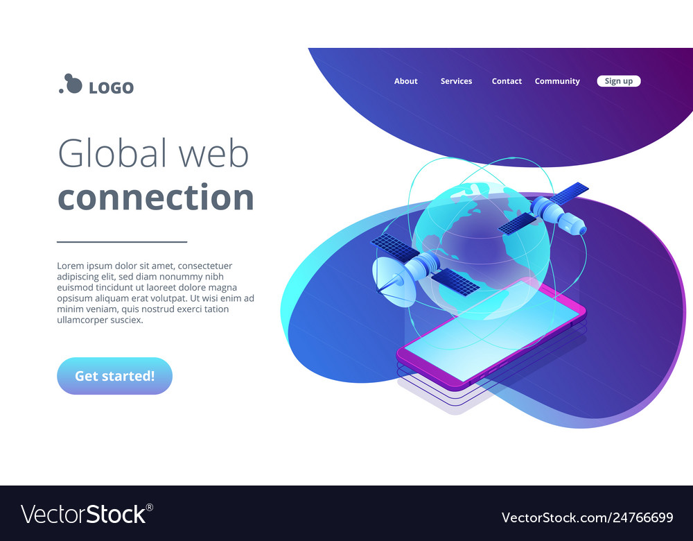 Global web connection isometric 3d landing page