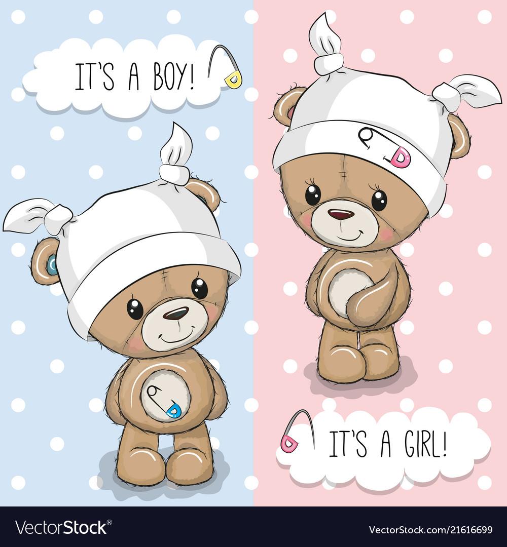 Greeting card with teddy bears