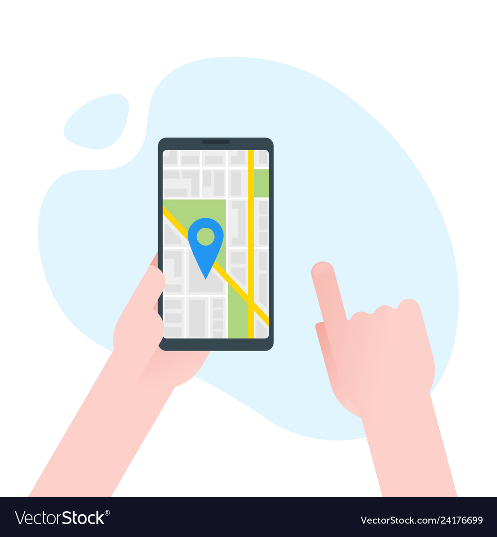 Hand holds smartphone with city map gps navigator