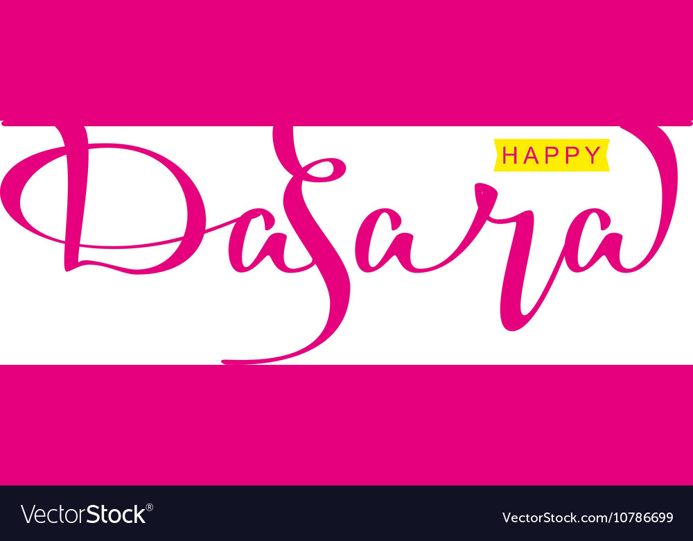 Happy dasara hindu festival Lettering text for