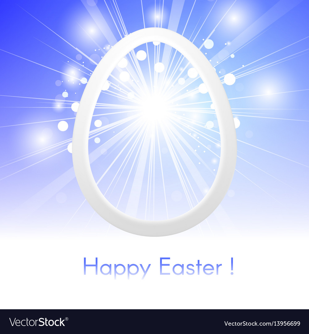 Happy easter with easter egg on blue sky with rays