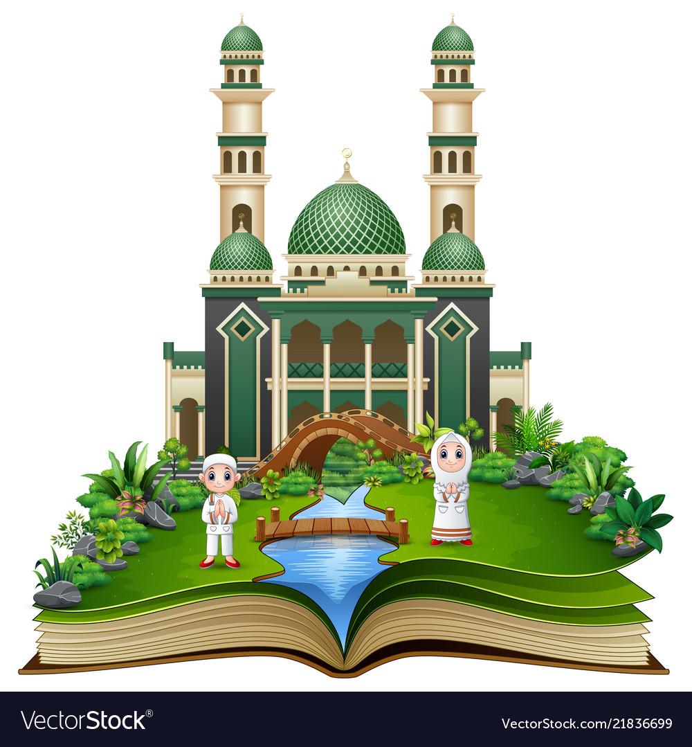 Open book with happy muslim kids cartoon in front