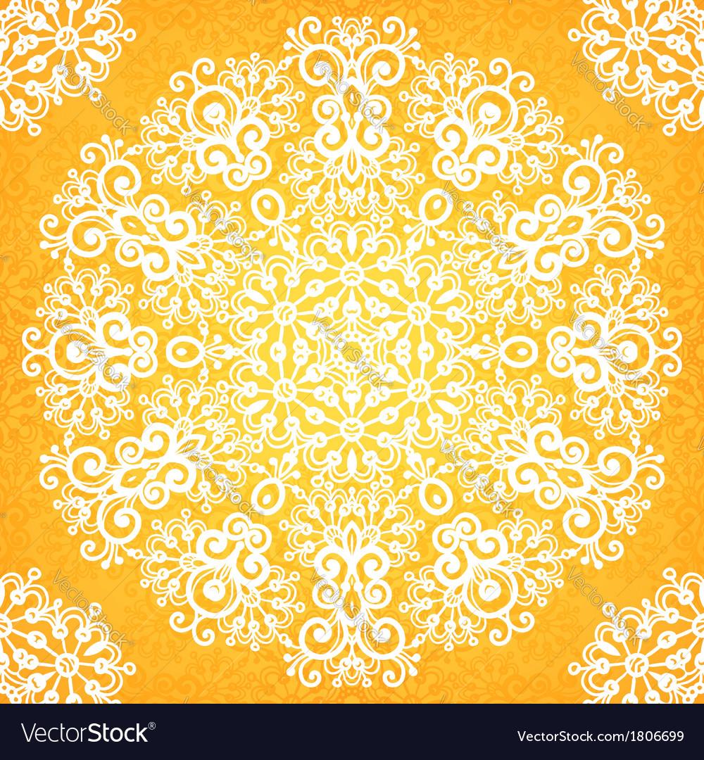 Ornate vintage yellow lacy seamless pattern