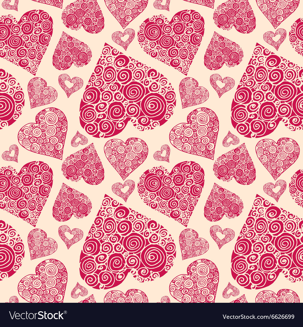 Seamless pattern with romantic decorative harts