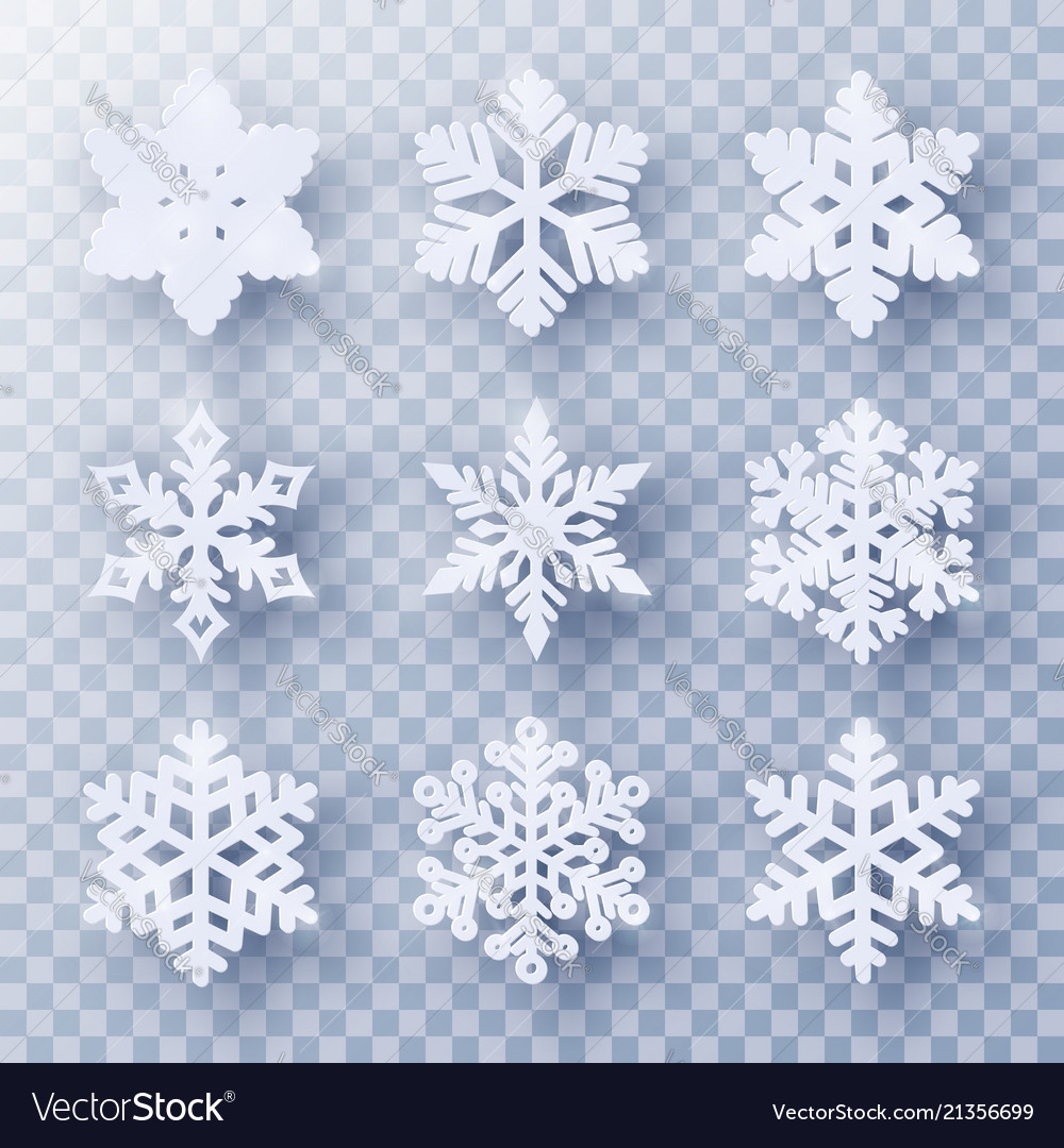 Set of 9 paper cut snowflakes with shadow