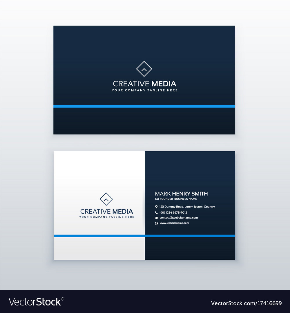 Simple blue business card design template vector image maxwellsz