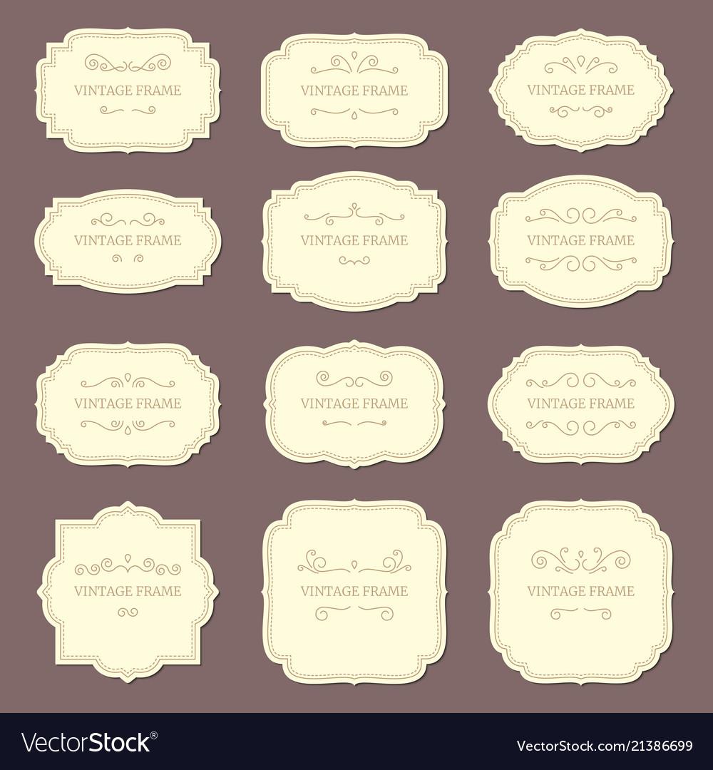 Vintage label frames old ornamental labels