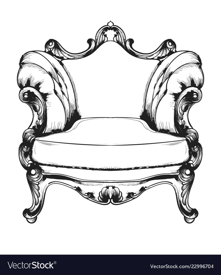 Baroque Furniture Rich Armchair Royal Style Vector Image
