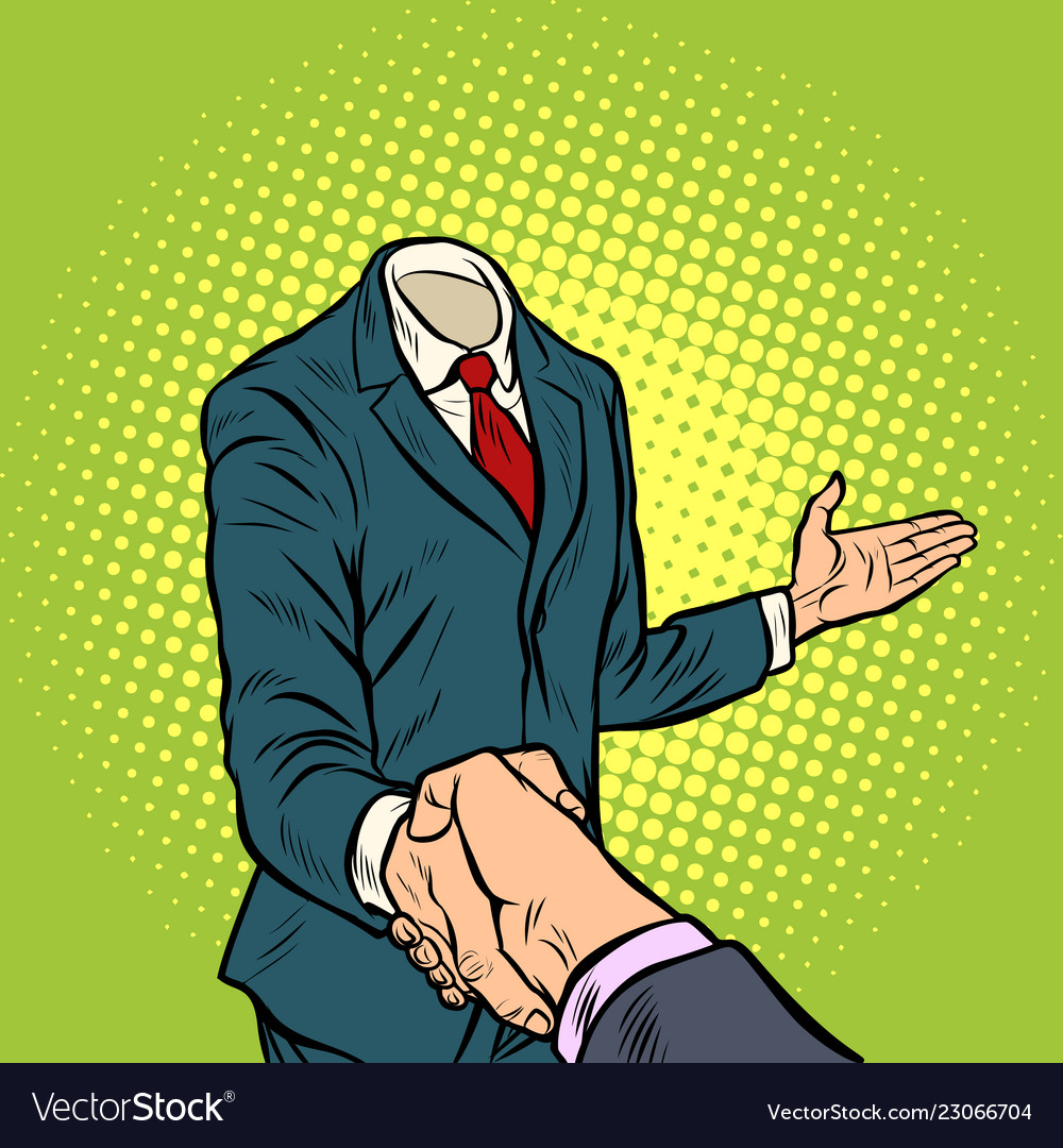 Businessman handshake a template without a head