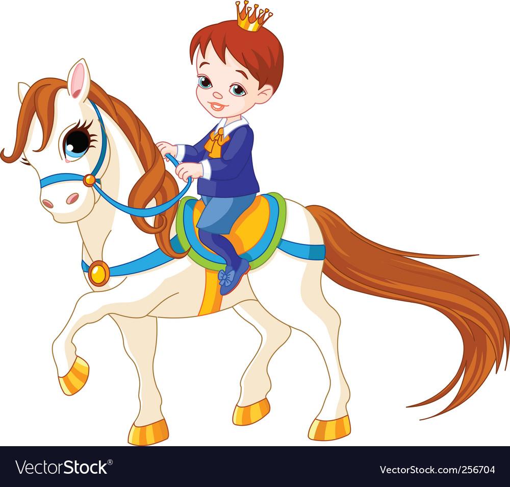 Cartoon prince on horse