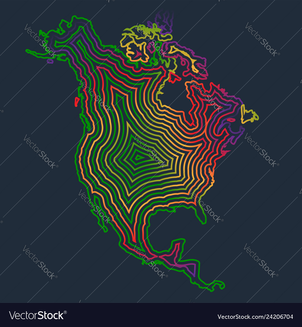 Colorful north america made by strokes