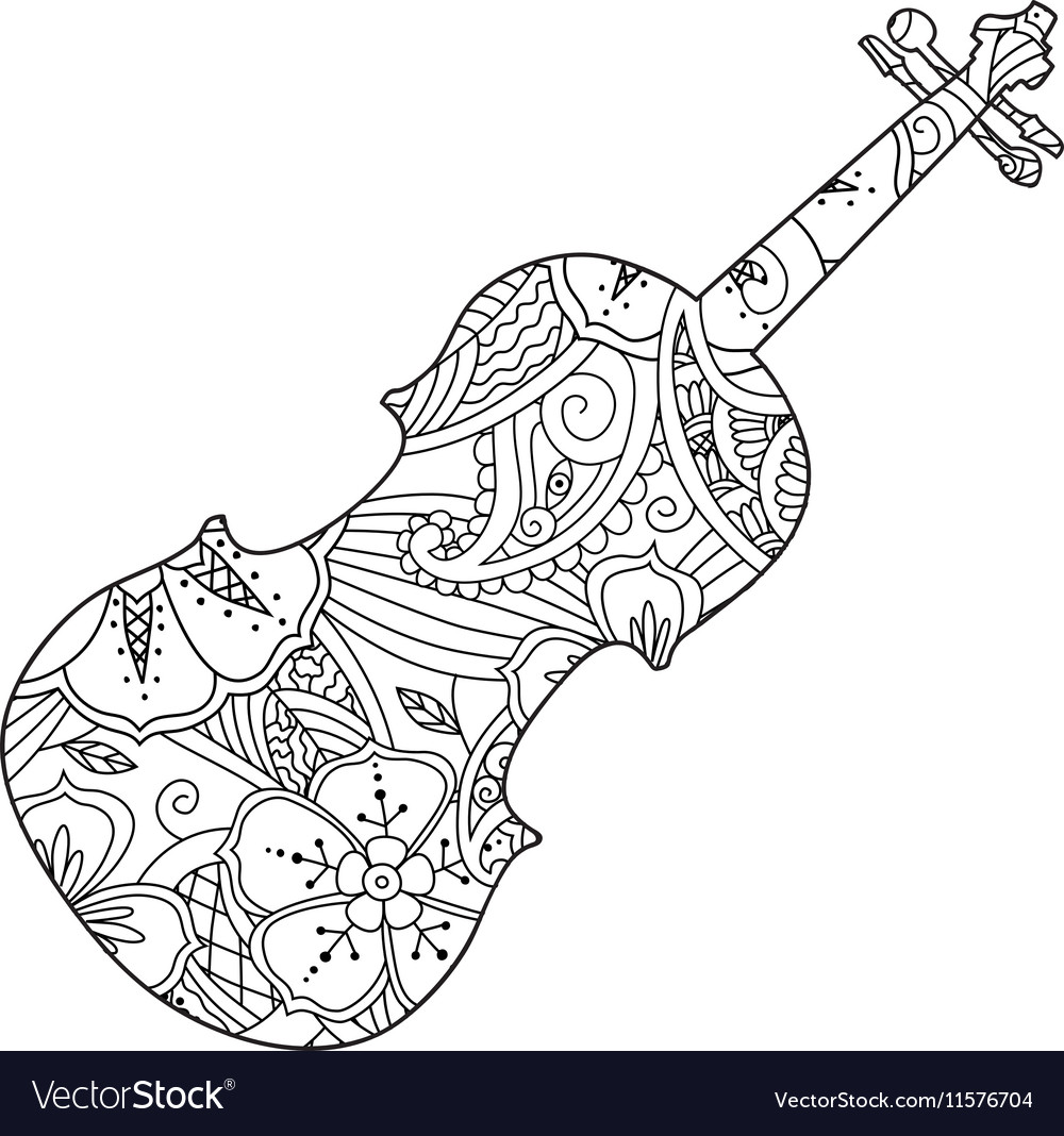 Coloring page with ornamental violin isolated on vector image