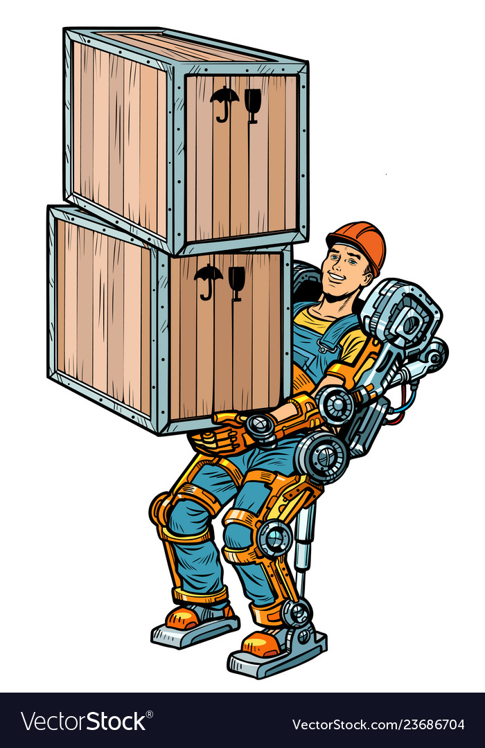 Container loader working in the exoskeleton