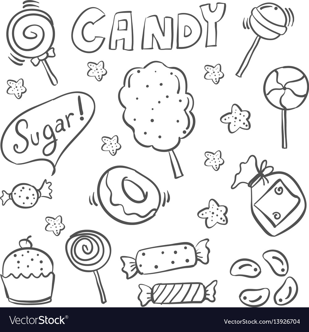 Doodle of sweet candy sketch hand draw vector image