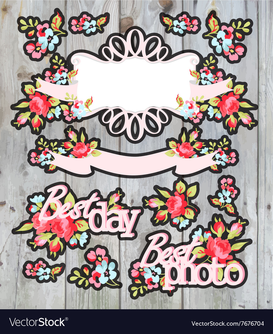 Graphic set wreath flowers ribbons and labels on vector image