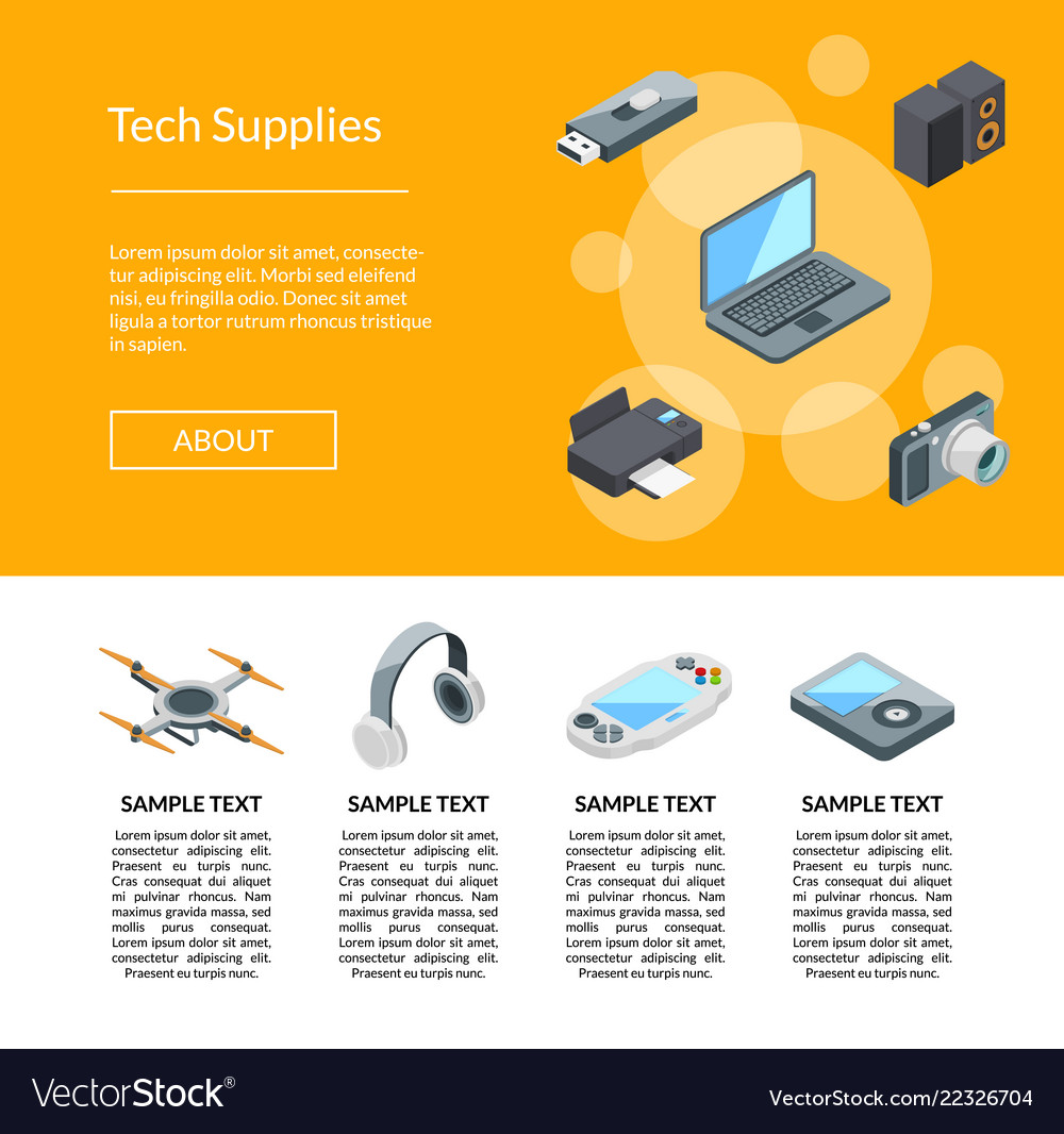 Isometric gadgets icons page template