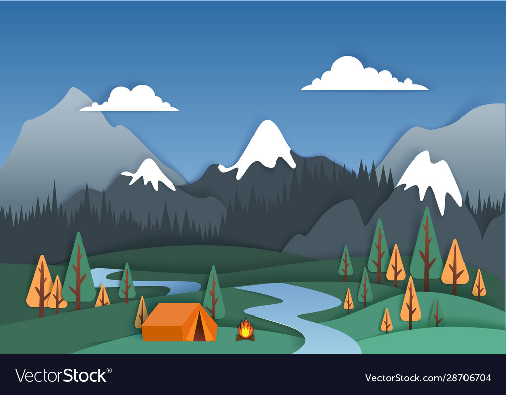 Mountain camp in paper art