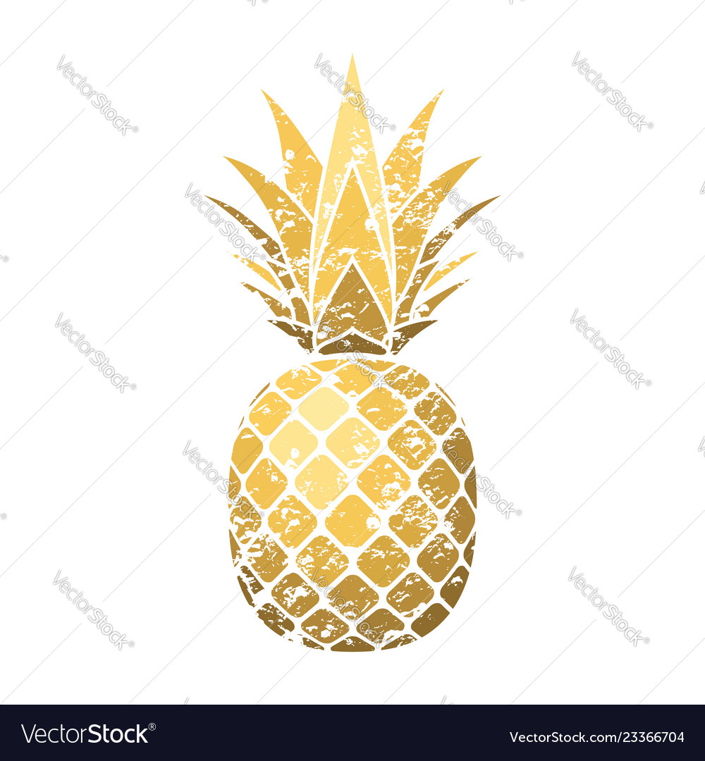 Pineapple grunge with leaf tropical gold exotic