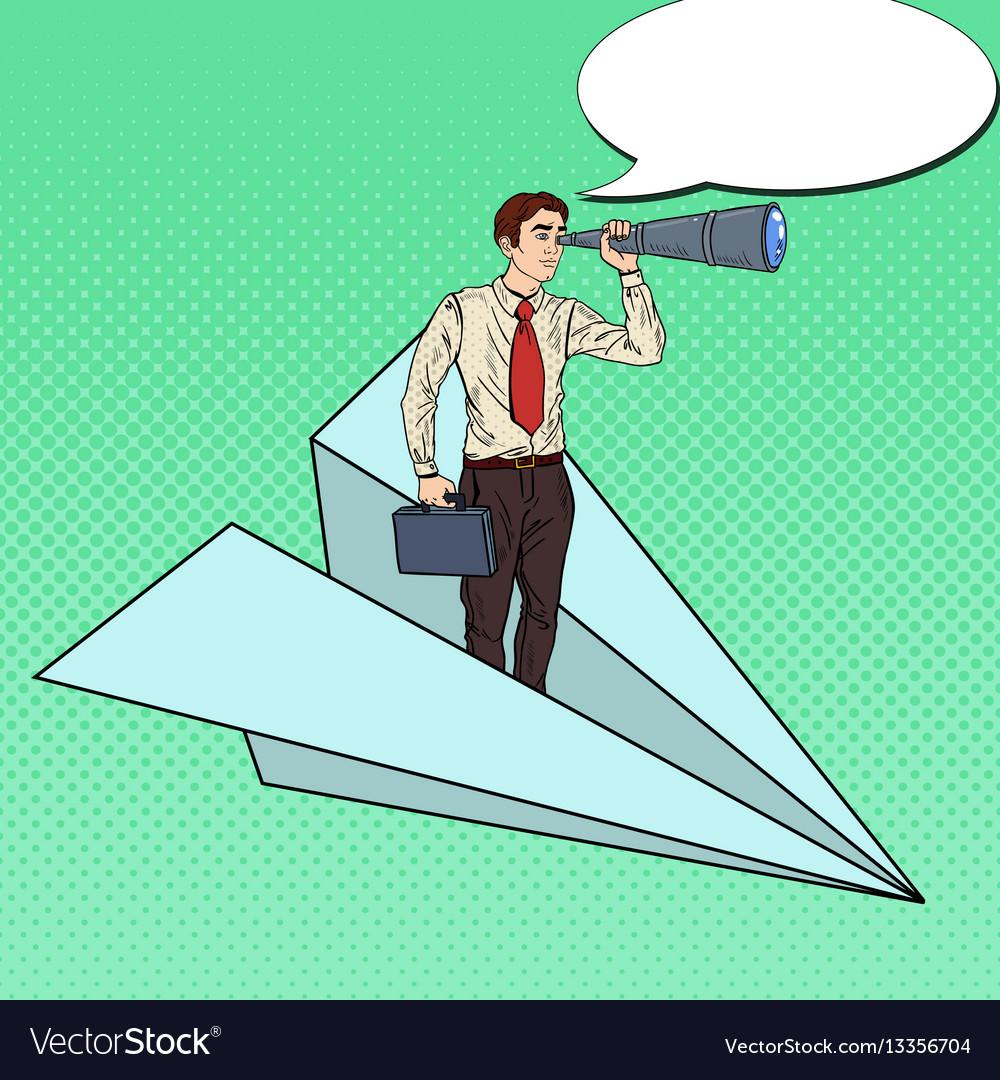 Pop art businessman flying paper plane