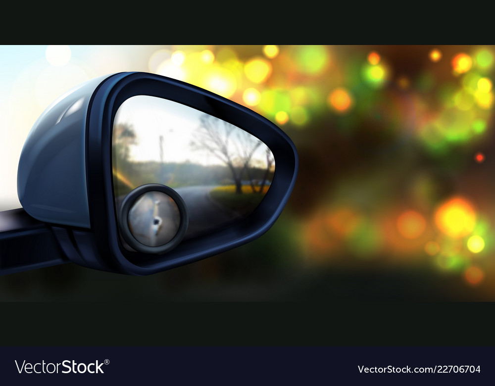 Rear view mirror with glass for blind spot