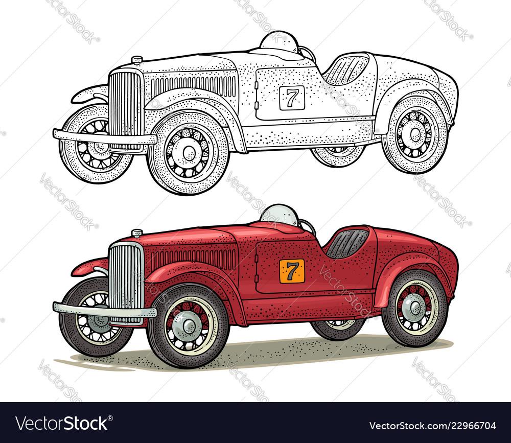 Retro car roadster side view vintage color