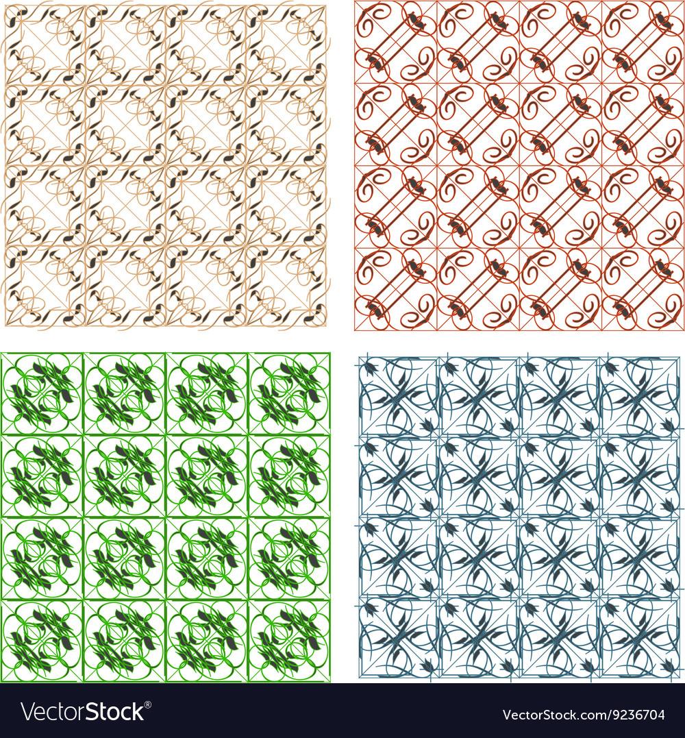Set of seamless retro geometric vector image