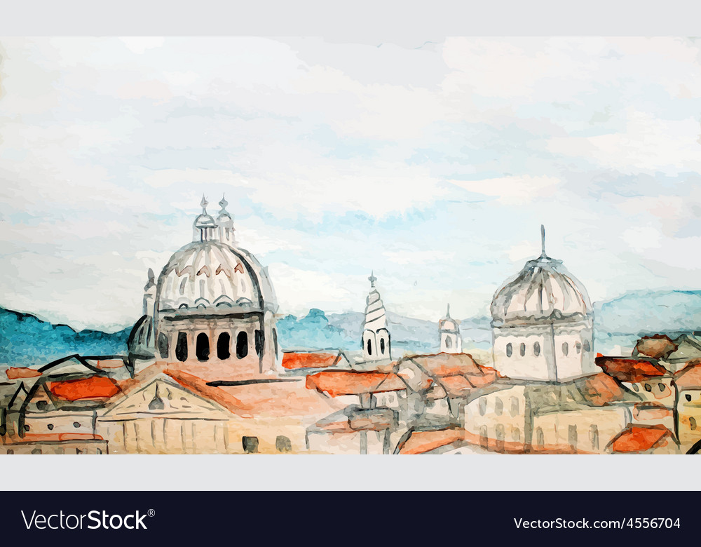 Watercolor panorama of Rome