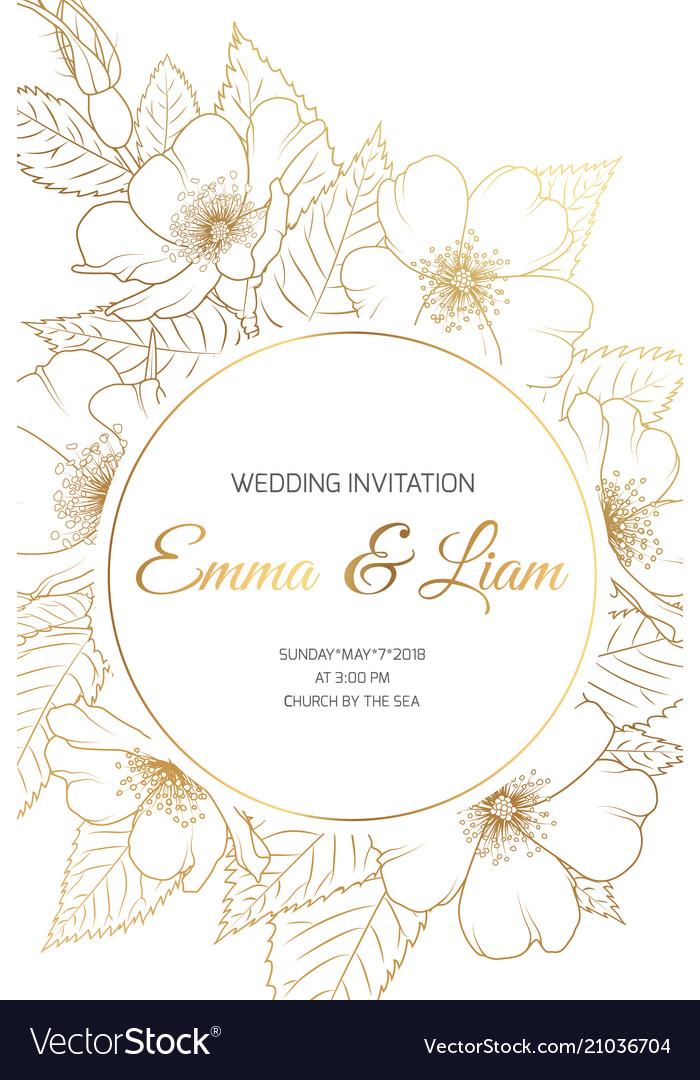 Wedding Invitation Card Wild Rose Cherry Sakura Vector Image