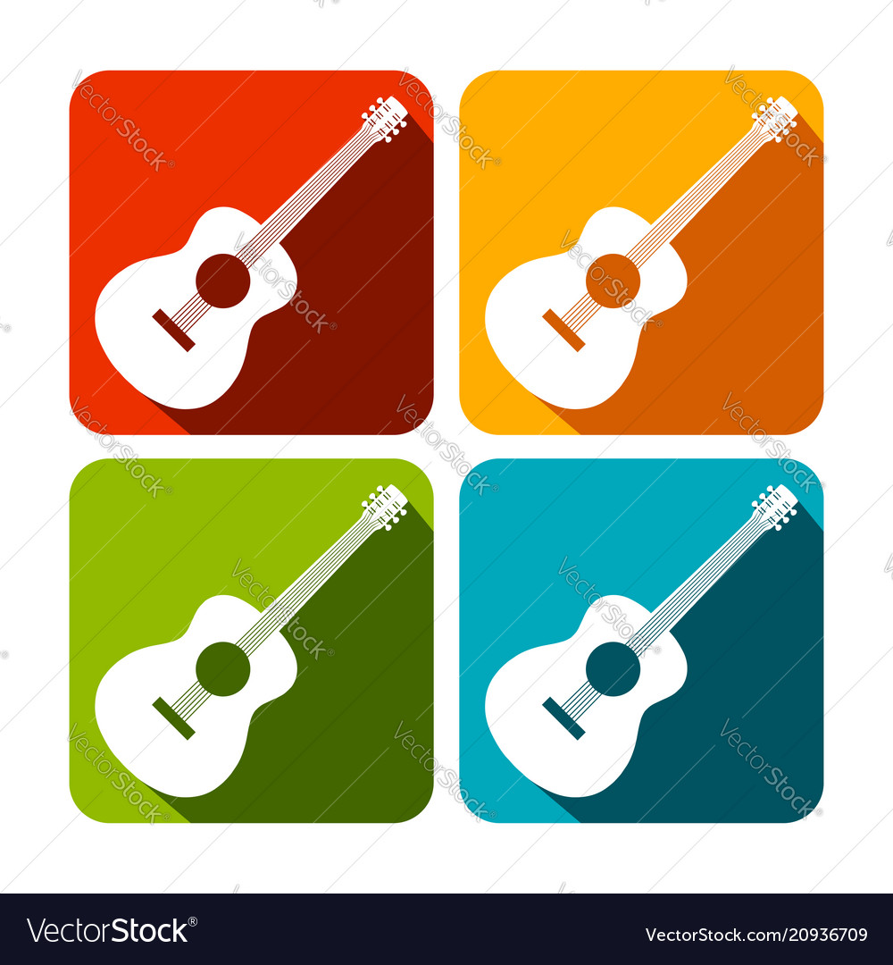 Acoustic guitar square icon design set