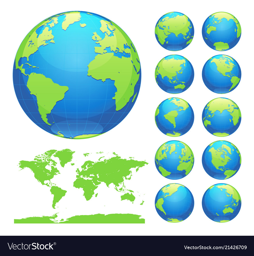 Blue earth globes set and world map