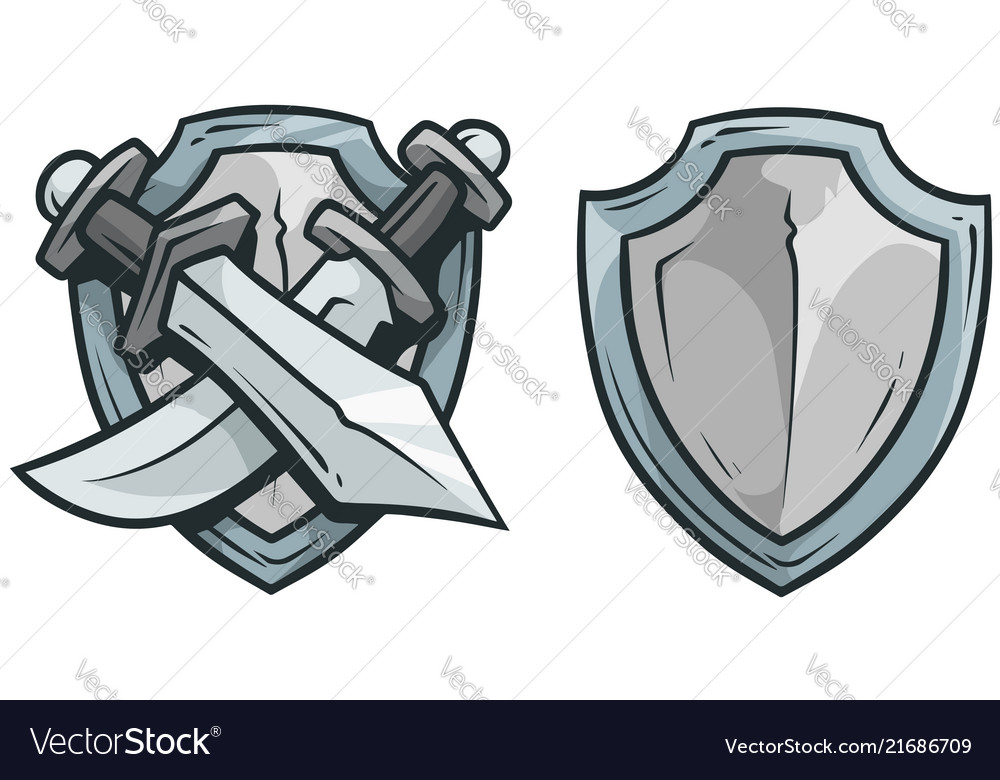 Cartoon coat arms with swords and shield
