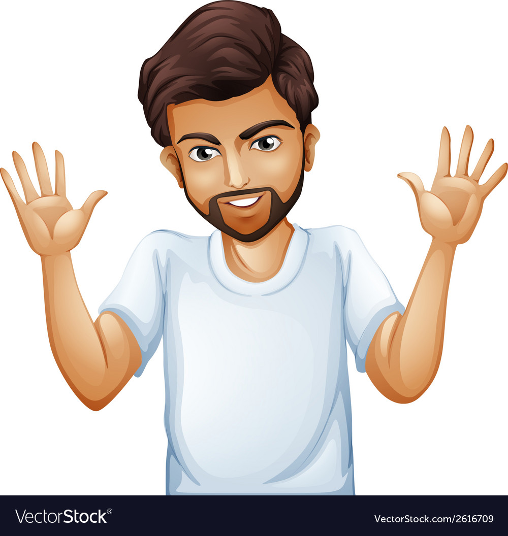 Cartoon man with hands up vector image