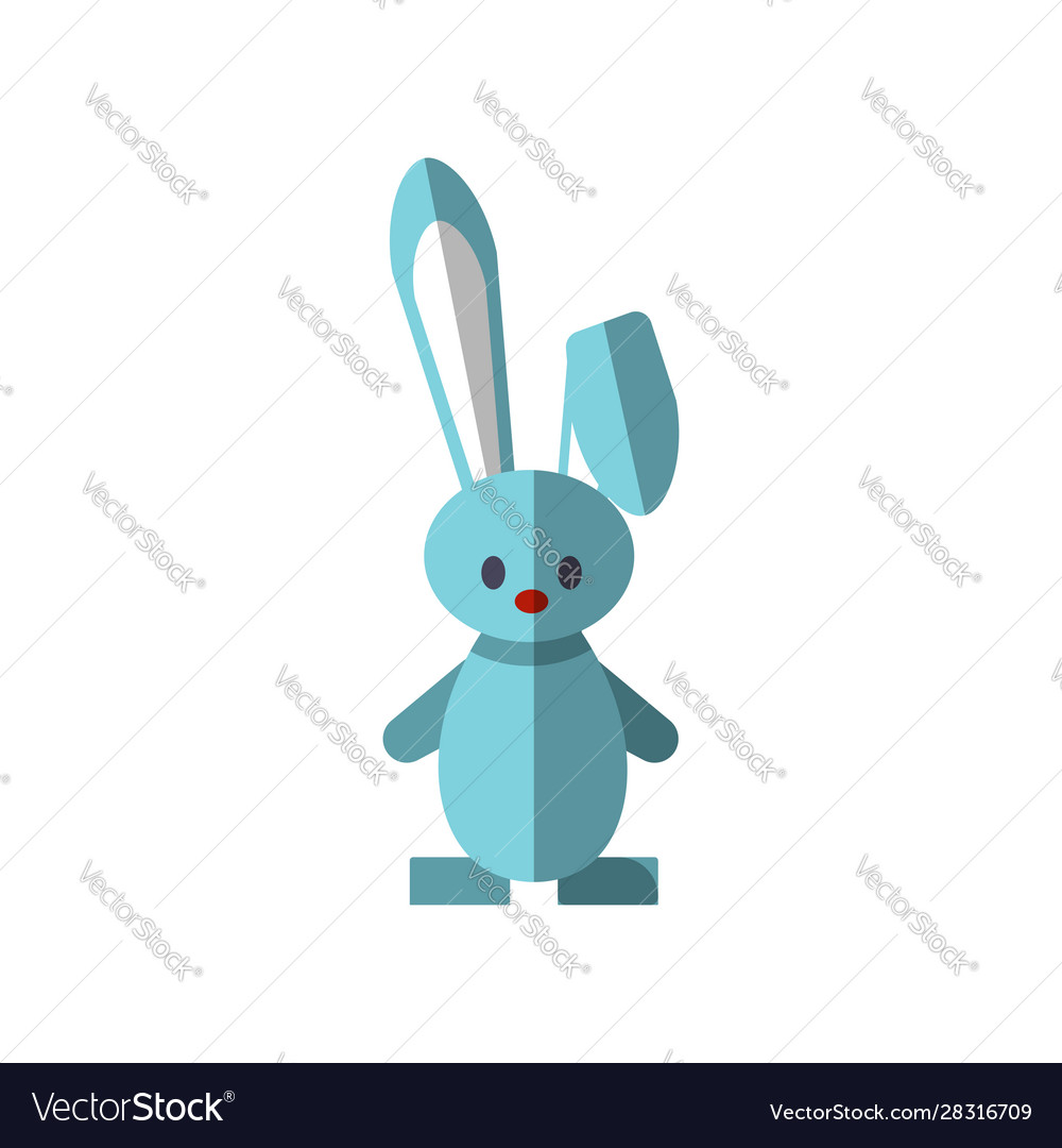 Flat funny cute rabbit vector
